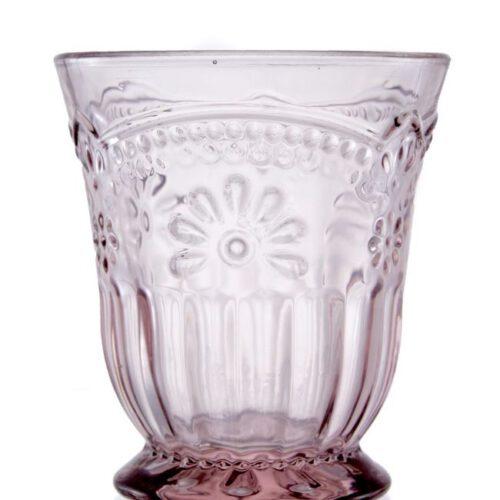 Szklanka z grubego szkła w kolorze różowym. Delikatny kwiatowy wzór.