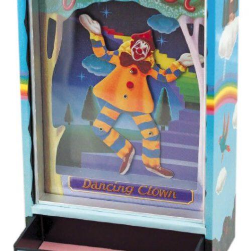 Teatr muzyczny z tańczącym klaunem.