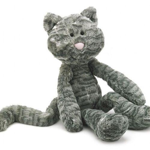 Uroczy kot Merrydays ma szare cętkowane futerko.W końcówkach łapek i ogonie ma ziarna