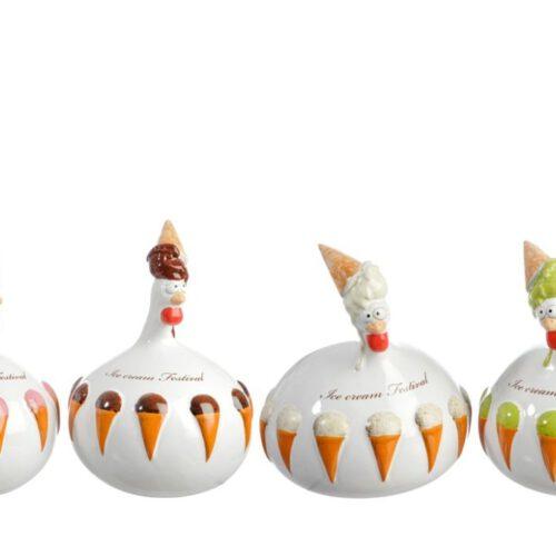 Kurczaki ceramiczne z lodami 21 cm