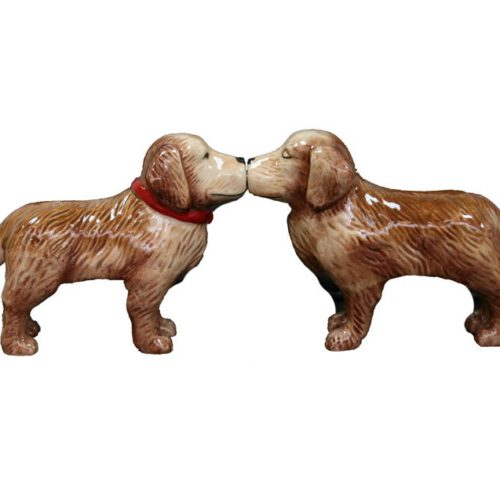 Ceramiczna solniczka i pieprzniczka w kształcie dwóch psów rasy Golden Retriever.
