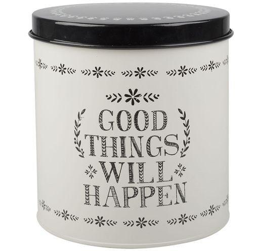"Puszka z pokrywką i napisem ""Good things will happen""."