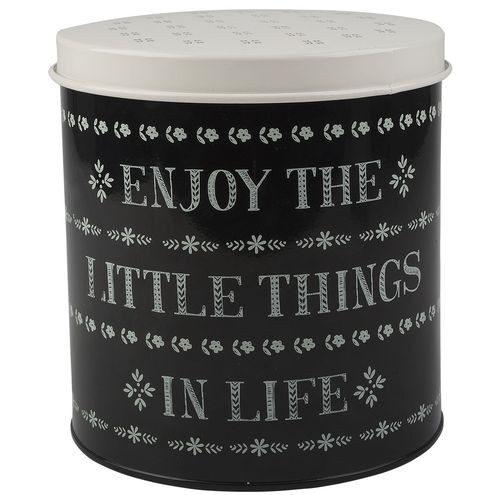 "Metalowa puszka z pokrywką i napisem ""Enjoy the little things in Life"""