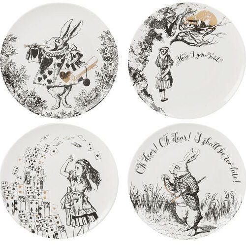 """Kpl. 4 talerzy z czarno-białą grafiką ilustracji z książki """"Alicja w Krainie Czarów"""""""